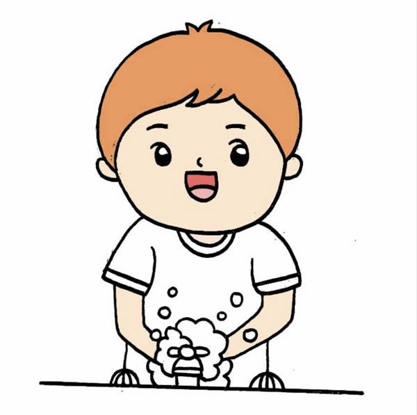 预防肺炎勤洗手简笔画