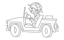 开着吉普车的士兵简笔画