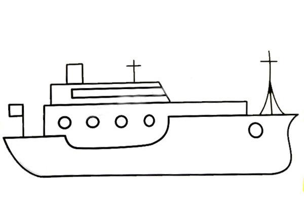 漂亮大气的轮船简笔画