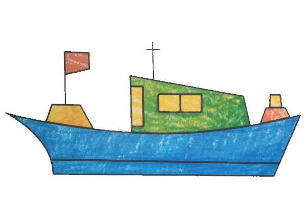 渔船儿童简笔画