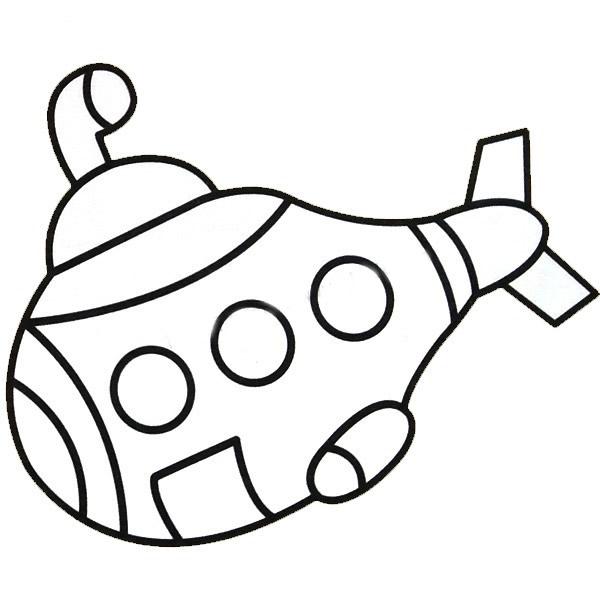 潜艇简笔画带涂色