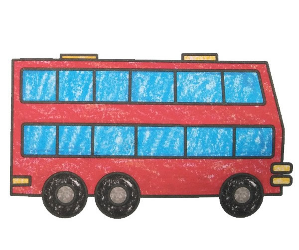 双层巴士简笔画带涂色