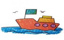 海里的小游轮简笔画