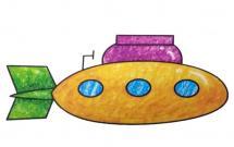 军用潜艇简笔画