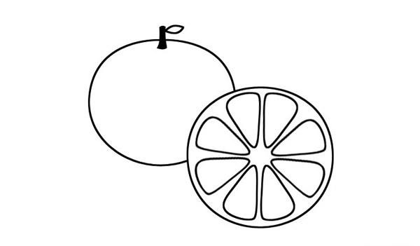 切开的橙子简笔画