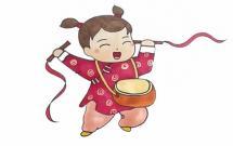 春节小女孩打锣鼓简笔画