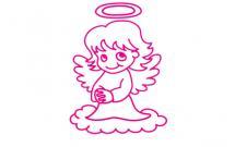 站在云上的天使简笔画
