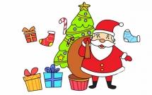 圣诞老人和很多礼物的简笔画