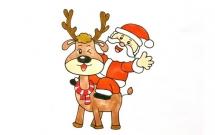圣诞老人骑麋鹿的简笔画