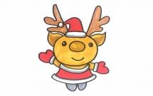 圣诞驯鹿简笔画步骤