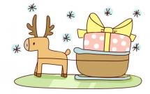 麋鹿车送圣诞礼物简笔画