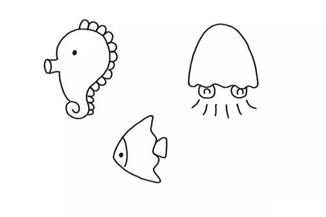 海底世界各种动物简笔画