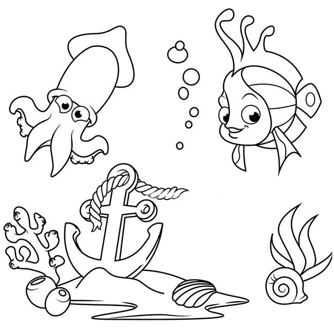 海底世界乌贼和珊瑚鱼简笔画