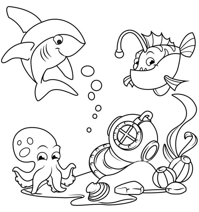 海底世界鲨鱼珊瑚鱼和章鱼简笔画