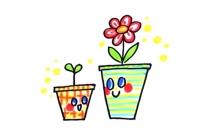 两盆可爱的小花简笔画