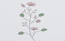 一组有艺术感的花朵简笔画