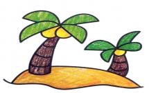 涂色的两棵椰子树简笔画