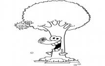 搞怪的卡通大树简笔画