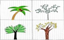 一组小清新的大树简笔画