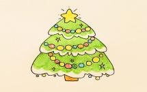 漂亮彩色的圣诞树简笔画