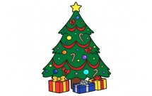 彩色漂亮的圣诞树简笔画