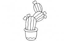 仙人掌盆栽简笔画画法步骤教程