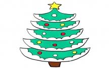 可爱的圣诞树简笔画步骤教程