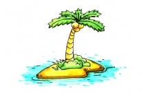 海岛上的椰树简笔画教程