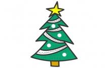 简单易学的圣诞树简笔画