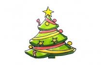 简单七步画出漂亮的圣诞树简笔画
