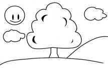 太阳下的大树简笔画