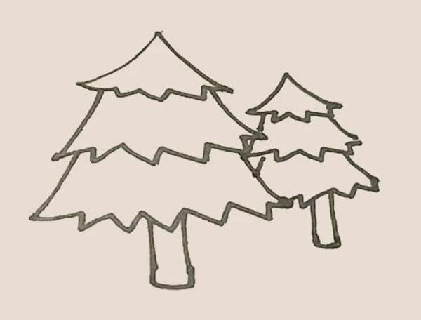 一大一小两棵松树的简笔画