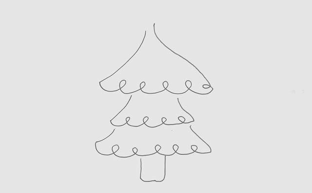 简单带颜色的圣诞树儿童画