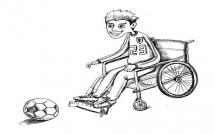 残疾人踢足球的简笔画