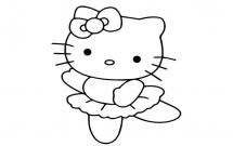 跳舞的kitty猫简笔画