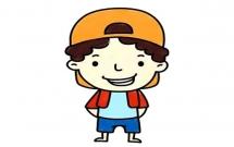 戴着帽子的小男孩简笔画