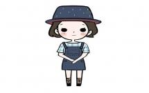 戴帽子的女生简笔画步骤教程