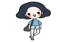 韩范女生简笔画步骤教程