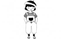 一组穿着时尚的女生简笔画
