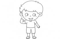 九步教画可爱的小男孩简笔画