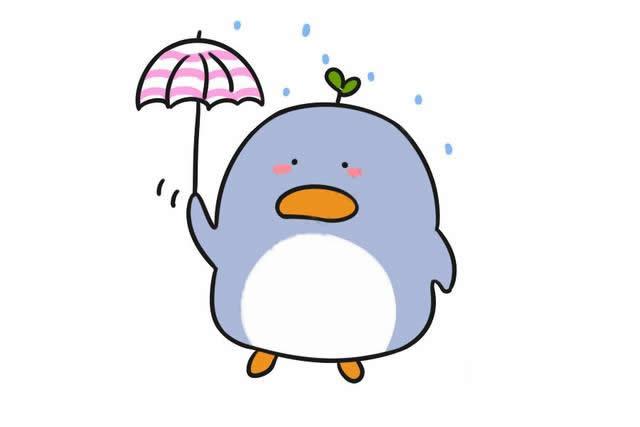 打雨伞的企鹅简笔画