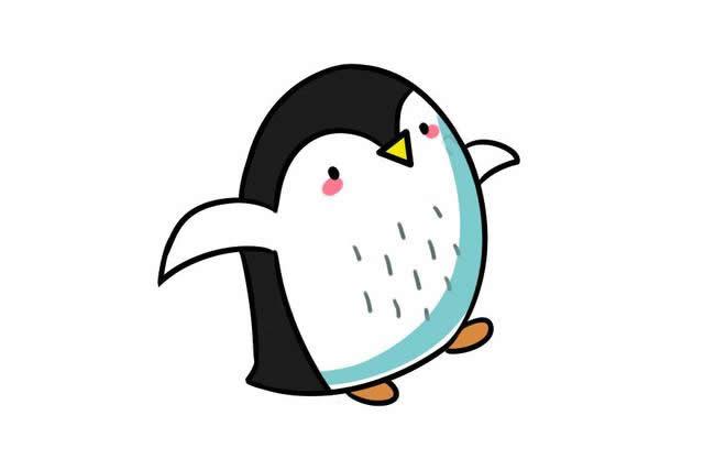 蹦蹦跳跳的企鹅简笔画