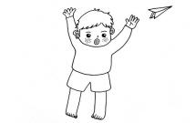 玩纸飞机的小男孩简笔画