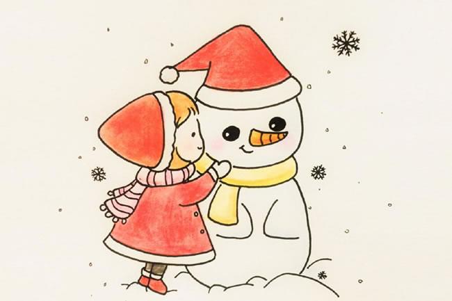 圣诞节小女孩堆雪人简笔画