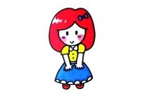 可爱害羞的女孩简笔画教程
