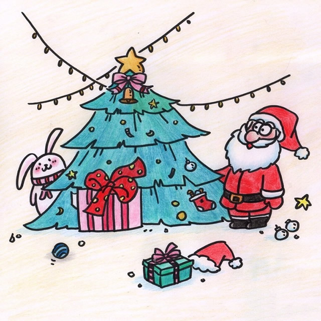 一组关于圣诞节的简笔画大全