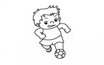 踢足球的小男孩简笔画