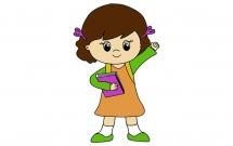 拿着书本的小女孩简笔画