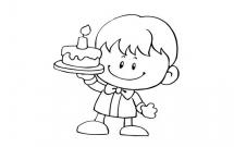 手拿生日蛋糕的小男孩简笔画