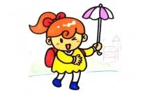 打伞的小女孩简笔画步骤教程